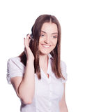 Beautiful customer service operator woman with headset Royalty Free Stock Photos