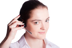 Beautiful customer service operator woman with headset Stock Images