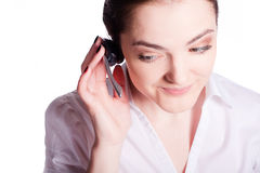 Beautiful customer service operator woman with headset Royalty Free Stock Image