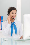 Beautiful customer service representative. royalty free stock image