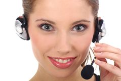 Beautiful customer support girl Stock Photo