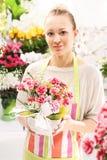 Beautiful cut flowers, florist arranges medley Stock Photography