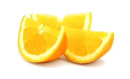 Beautiful cut pieces of fresh orange isolated on white backgroun Stock Images