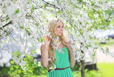 Beautiful cute blonde in a spring garden. Looking to the side, tenderness Royalty Free Stock Image