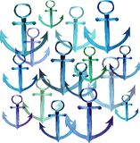Beautiful cute bright summer sea fresh marine blue anchors different shapes and colors group watercolor. Hand sketch Stock Photo