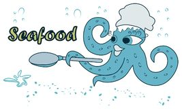 beautiful, cute, cartoon octopus in the form of chef on blue background.