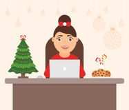 Beautiful cute character women, holiday tree. Decorated workplace office Merry Christmas and Happy New Year. Celebration Royalty Free Stock Image
