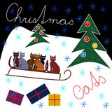 Beautiful cute Christmas design with colorful cats Stock Photography