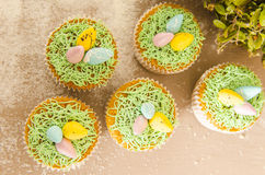 Beautiful cute Easter cupcakes with Easter decorations Stock Images