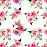 Beautiful cute floral herbal gorgeous magnificent wonderful spring colorful pink and red roses with leaves pattern watercolor Stock Photo