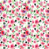 Beautiful cute floral herbal gorgeous magnificent wonderful spring colorful pink and red roses with leaves pattern Stock Photography