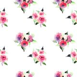 Beautiful cute floral herbal gorgeous magnificent wonderful spring colorful pink and red roses with leaves pattern watercolor Royalty Free Stock Images