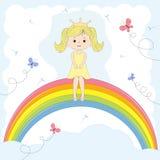 Beautiful cute girl  princess sitting on the rainbow Royalty Free Stock Photo
