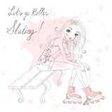 Beautiful, cute girl sitting and tie shoelaces on roller skates. Royalty Free Stock Photography