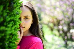 She is so beautiful. Cute girl on spring nature. Pretty girl with young face skin and no makeup. Beauty model with fresh. Look. Young lady in spring park royalty free stock images