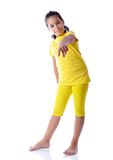 Beautiful cute girl in yellow clothes Stock Photography