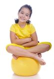 Beautiful cute girl in yellow clothes Royalty Free Stock Photo