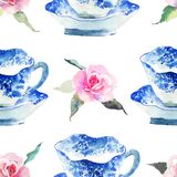 Beautiful cute graphic lovely artistic tender wonderful blue porcelain china tea cups with lovely pink roses flowers pattern water. Color hand illustration royalty free stock images