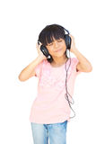 Beautiful cute happy little girl with headphones Royalty Free Stock Photos