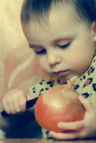 Beautiful cute kid with vegetables. Stock Image