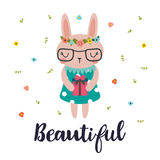 Beautiful. Cute little bunny. Romantic card, greeting card or postcard. Illustration with beautiful rabbit with the gift Stock Photos