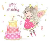 Beautiful, cute, little fairy girl Princess with big cake and inscription Happy Birthday. Vector illustration.