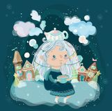Beautiful cute little girl. Cartoon winter character Royalty Free Stock Photography