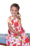 Beautiful Cute Little Girl Posing on an Isolated Background Royalty Free Stock Photography