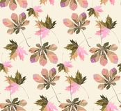 Beautiful cute lovely tender wonderful pastel floral herbal autumn green red yellow orange maple chestnut leaves pattern on beige. Pastel background vector stock illustration