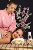 Beautiful cute nice girl doing massage Stock Photo