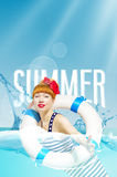 Beautiful cute optimistic positive young woman with red lips smiles swimming in the sea during the summer on vacation Royalty Free Stock Photos