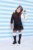 Beautiful cute pretty little girl baby blond curly hair fun play Stock Photos