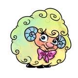 Beautiful cute rainbow ram cartoon Royalty Free Stock Images