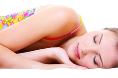 Beautiful cute resting female Royalty Free Stock Photos