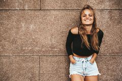 Hipster girl with no makeup outdoors stock images