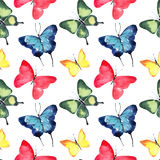 Beautiful cute sophisticated magnificent wonderful tender gentle spring blue green red yellow butterflies pattern watercolor Royalty Free Stock Images
