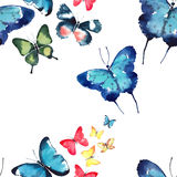 Beautiful cute sophisticated magnificent wonderful tender gentle spring blue green red yellow butterflies pattern watercolor Stock Images
