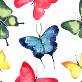 Beautiful cute sophisticated magnificent wonderful tender gentle spring blue green red yellow butterflies pattern watercolor Royalty Free Stock Photography
