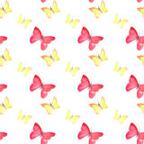Beautiful cute sophisticated magnificent wonderful tender gentle spring colorful butterflies pattern watercolor Royalty Free Stock Photo
