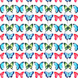 Beautiful cute sophisticated magnificent wonderful tender gentle spring colorful butterflies pattern watercolor hand Stock Image