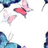 Beautiful cute sophisticated magnificent wonderful tender gentle spring colorful butterflies pattern watercolor Stock Photography