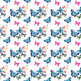 Beautiful cute sophisticated magnificent wonderful tender gentle spring colorful butterflies pattern watercolor Stock Image
