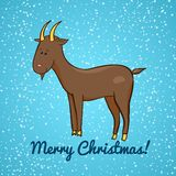 Beautiful cute vector goat, symbol of the new year. Beautiful cute goat on background of falling snow, symbol of the new year, vector illustration Stock Images
