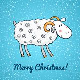 Beautiful cute vector sheep, symbol of the new. Beautiful cute sheep on background of falling snow, symbol of the new year, vector illustration Stock Image