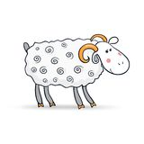 Beautiful cute vector sheep, symbol of the new. Beautiful cute sheep, symbol of the new year, vector illustration Stock Image