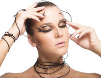 Beautiful cyber girl with  black makeup isolated on white backgr Stock Photo