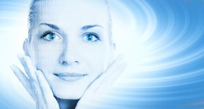 Beautiful cyber girl's face on Stock Photo