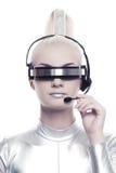 Beautiful cyber operator Royalty Free Stock Image