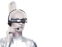 Beautiful cyber operator Royalty Free Stock Images