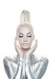 Beautiful cyber woman. Picture of a Beautiful cyber woman royalty free stock images